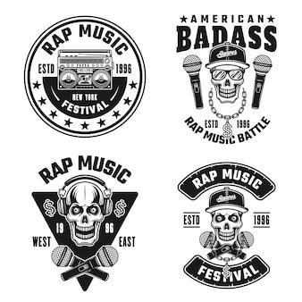 Conjunto de rap e hip-hop com quatro emblemas de vetor, etiquetas, emblemas, logotipos ou estampas de camisetas em estilo vintage monocromático isolado no fundo branco