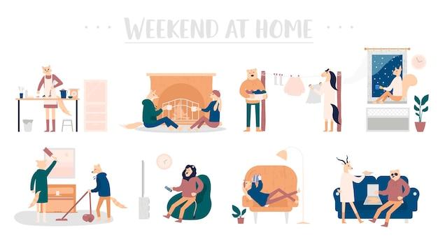 Conjunto de rapazes e moças passando o fim de semana em casa