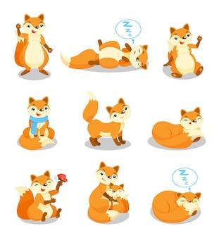 Conjunto de raposa bonitinha, personagem de desenho animado cachorro engraçado em diferentes situações ilustrações sobre um fundo branco