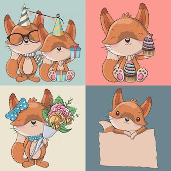 Conjunto de raposas bonito dos desenhos animados