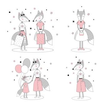Conjunto de raposas elegantes bonitos. compras de raposa, mãe e filha. cartaz do quarto do bebê, impressão de roupas. ilustração vetorial no estilo doodle em um fundo branco