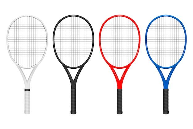 Conjunto de raquete de tênis realista, closeup isolado no fundo branco. modelo de design em.