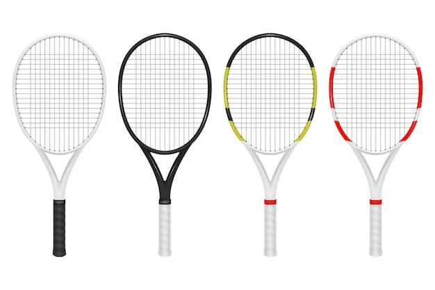 Conjunto de raquete de tênis realista, closeup isolado no fundo branco.