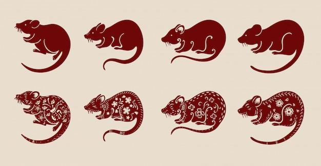 Conjunto de rato chinês em fundo marrom