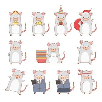 Conjunto de rato de desenho animado em poses diferentes. ano do rato.