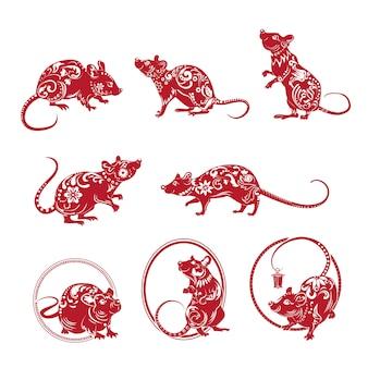 Conjunto de rato ornamentado vermelho