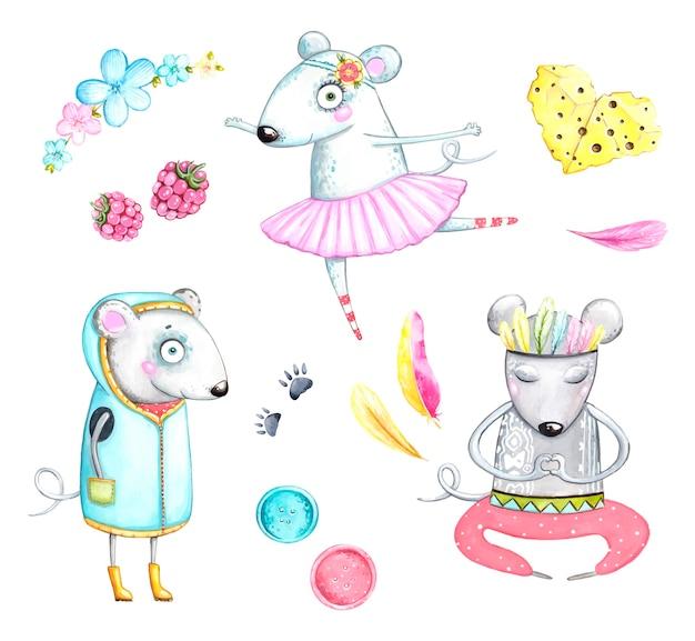 Conjunto de rato, romance, dia dos namorados, meditação, ilustração aquarela