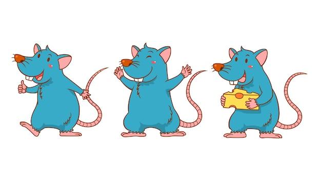 Conjunto de ratos de bonito dos desenhos animados em poses diferentes.