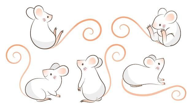 Conjunto de ratos de mão desenhada, mouse em poses diferentes. ilustração vetorial, estilo doodley dos desenhos animados.