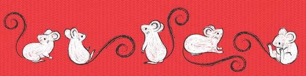 Conjunto de ratos de mão desenhada, mouses em poses diferentes, pincelada de tinta.