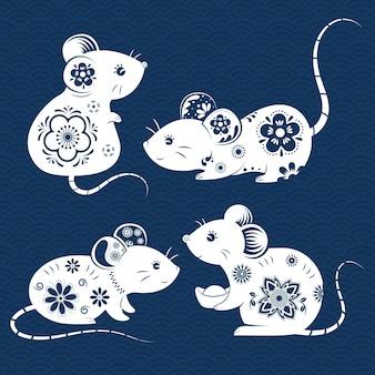 Conjunto de ratos ornamentados
