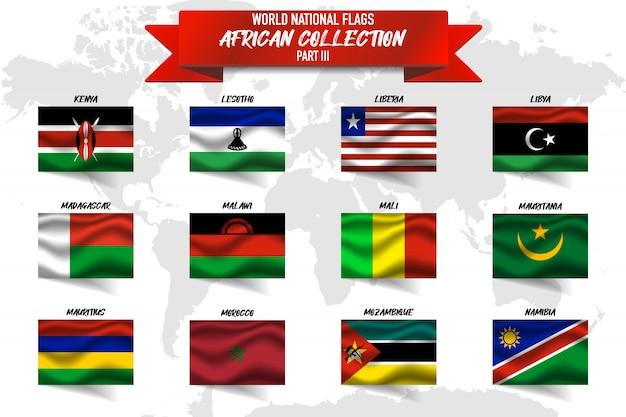Conjunto de realista acenando a bandeira nacional dos países africanos no mapa do mundo. quênia, líbia, libéria, mali e outros
