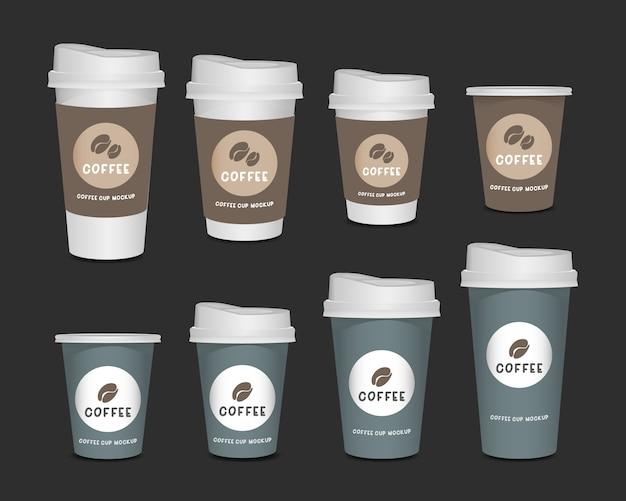 Conjunto de realista de xícara de café de papel em branco 3d isolado no fundo branco