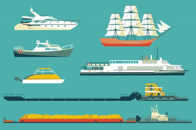Conjunto de rebocadores industriais e barcos de passageiros e iates