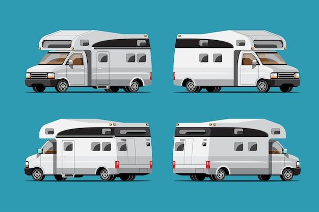 Conjunto de reboques de acampamento brancos, casas móveis de viagem ou caravana em fundo azul, ilustração plana