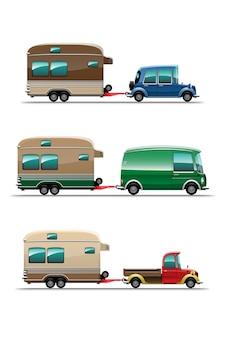 Conjunto de reboques de acampamento, casas móveis de viagem ou ilustração de fundo branco de caravana
