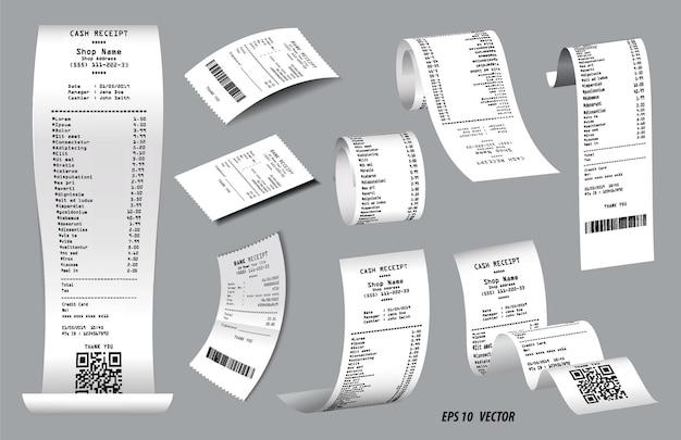 Conjunto de recibo de venda de caixa registradora realista isolado ou papel branco impresso de recibo de dinheiro
