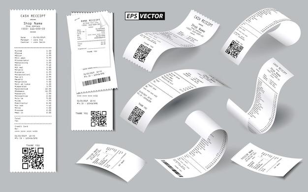 Conjunto de recibo de venda de registro realista isolado ou recibo de dinheiro impresso no conceito de papel branco