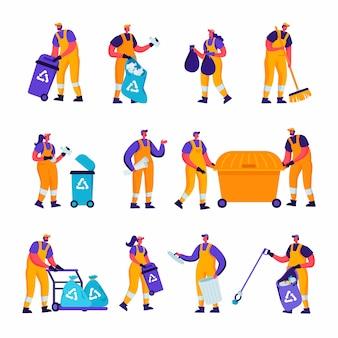 Conjunto de reciclagem de lixo plano e trabalhadores de fábrica de metalurgia caracteres