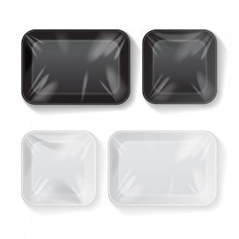 Conjunto de recipiente de bandeja de comida de plástico de isopor preto e branco em branco. modelo