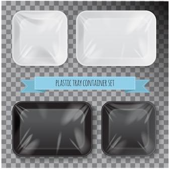 Conjunto de recipiente de bandeja de comida de plástico de isopor preto e branco retangular.