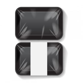 Conjunto de recipiente de bandeja de comida plástica de isopor preto em branco retângulo. modelo