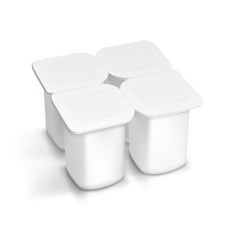 Conjunto de recipiente de embalagem branca em branco para iogurte, sorvete, sobremesa
