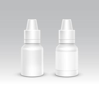 Conjunto de recipiente de embalagem de plástico branco de frasco de spray. cuidados médicos cosméticos. ilustração em vetor isolada em branco Vetor Premium