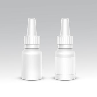 Conjunto de recipiente de embalagem de plástico branco de frasco de spray. cuidados médicos cosméticos. ilustração em vetor isolada em branco
