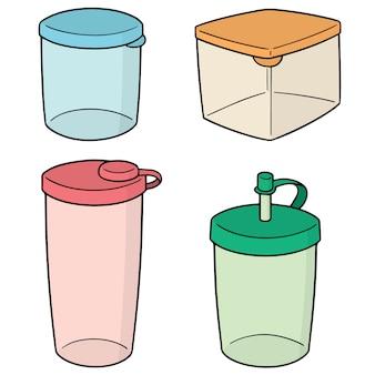 Conjunto de recipiente de plástico