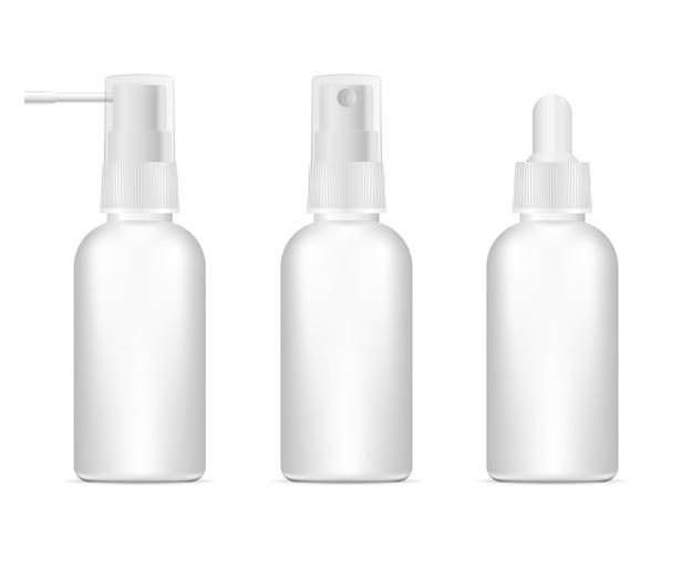 Conjunto de recipiente farmacêutico em branco de ilustração 3d