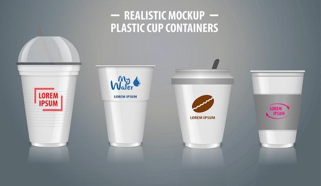 Conjunto de recipientes coloridos realistas com plástico transparente em copos descartáveis