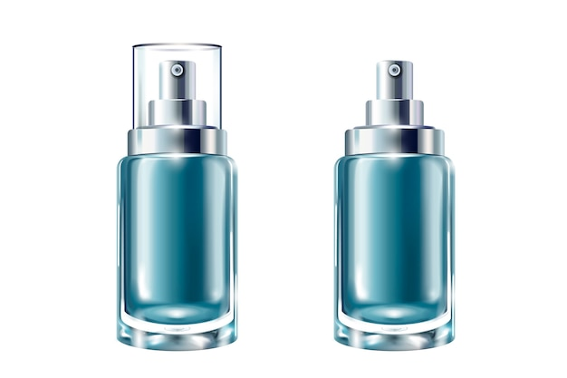 Conjunto de recipientes de cosméticos azuis, frascos de spray em fundo branco