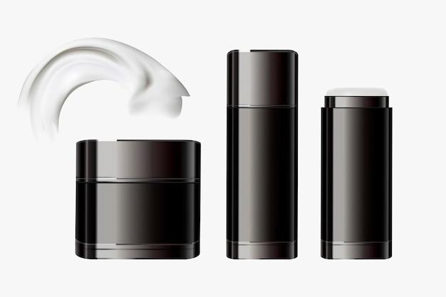 Conjunto de recipientes de cosméticos pretos, garrafas em branco e pote na ilustração 3d, textura creme incluída