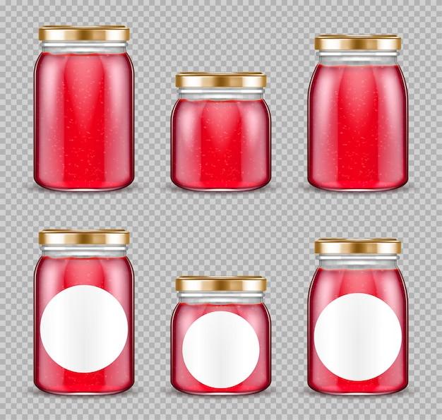 Conjunto de recipientes de vidro para geléia