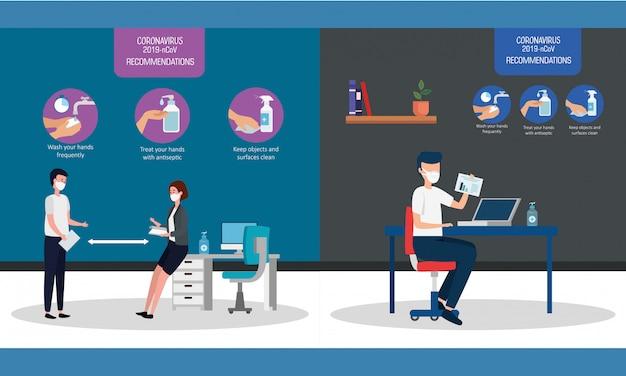 Conjunto de recomendações de 2019-ncov no design de ilustração vetorial de escritório
