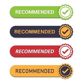 Conjunto de recomendar emblema com carrapato em um design plano com sombra