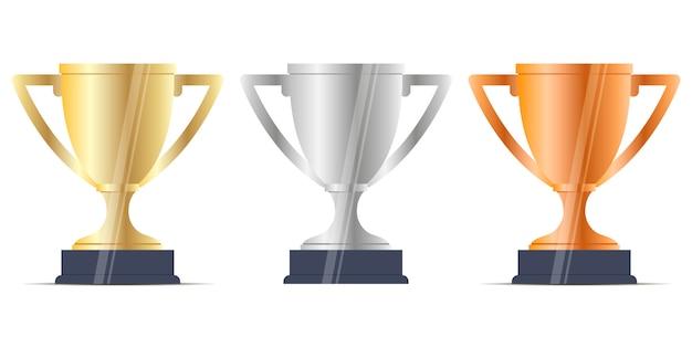 Conjunto de recompensas winner cup. ouro prata bronze. plano