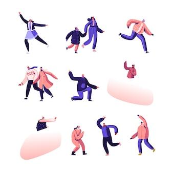 Conjunto de recreação de férias de inverno. pessoas felizes em roupas quentes, patinando na pista de gelo, envolvidos em esportes e atividades de inverno. ilustração plana dos desenhos animados