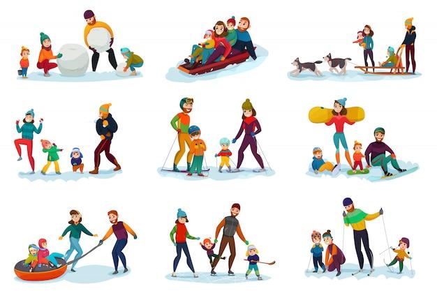 Conjunto de recreação de inverno