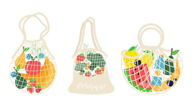 Conjunto de redes de compras ecológicas com vegetais, frutas e bebidas saudáveis. alimentos lácteos em sacola de compras ecológica reutilizável. resíduos zero, conceito livre de plástico. design moderno e plano