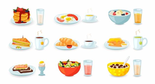 Conjunto de refeição de café da manhã com bebidas