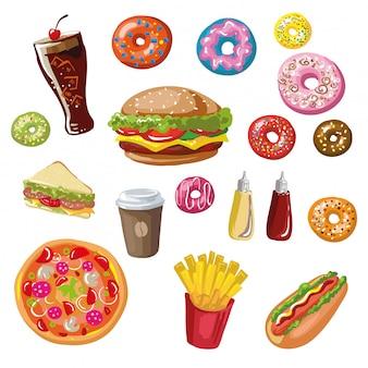 Conjunto de refeições de fast food.