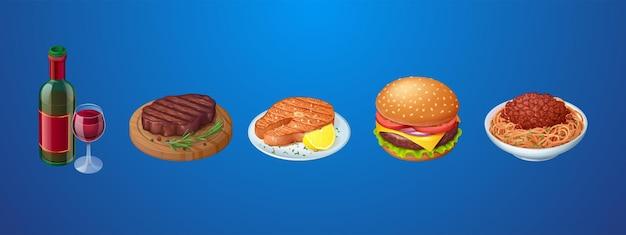 Conjunto de refeições de restaurante ou fastfood e vinho tinto