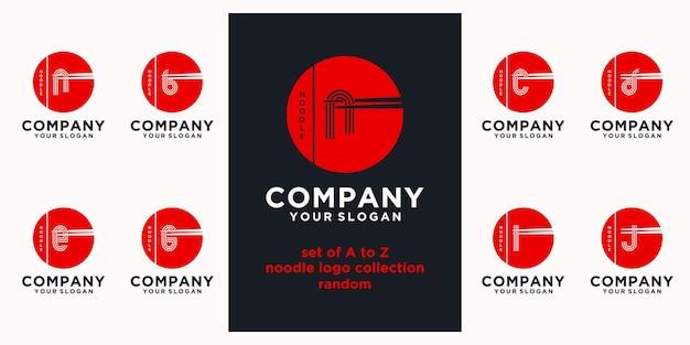 Conjunto de referência do logotipo de macarrão, com estilo inicial, loja de macarrão, ramen, udon, loja de alimentos e outros.