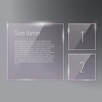Conjunto de refletir banners de vidro quadrado em fundo gradiente