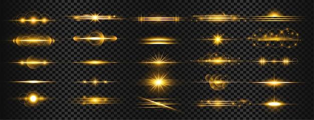 Conjunto de reflexos de lente de luz transparente dourada