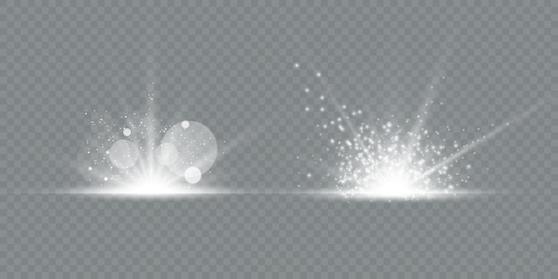 Conjunto de reflexos de lente transparentes e efeitos de iluminação
