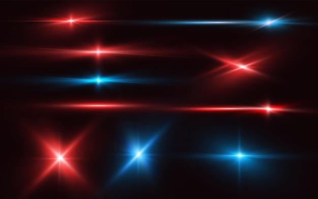 Conjunto de reflexos de lentes brilhantes realistas, luz de brilho de néon, estrelas vermelhas e azuis cintilantes