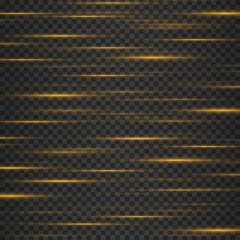 Conjunto de reflexos de lentes horizontais amarelas listras brilhantes em fundo escuro